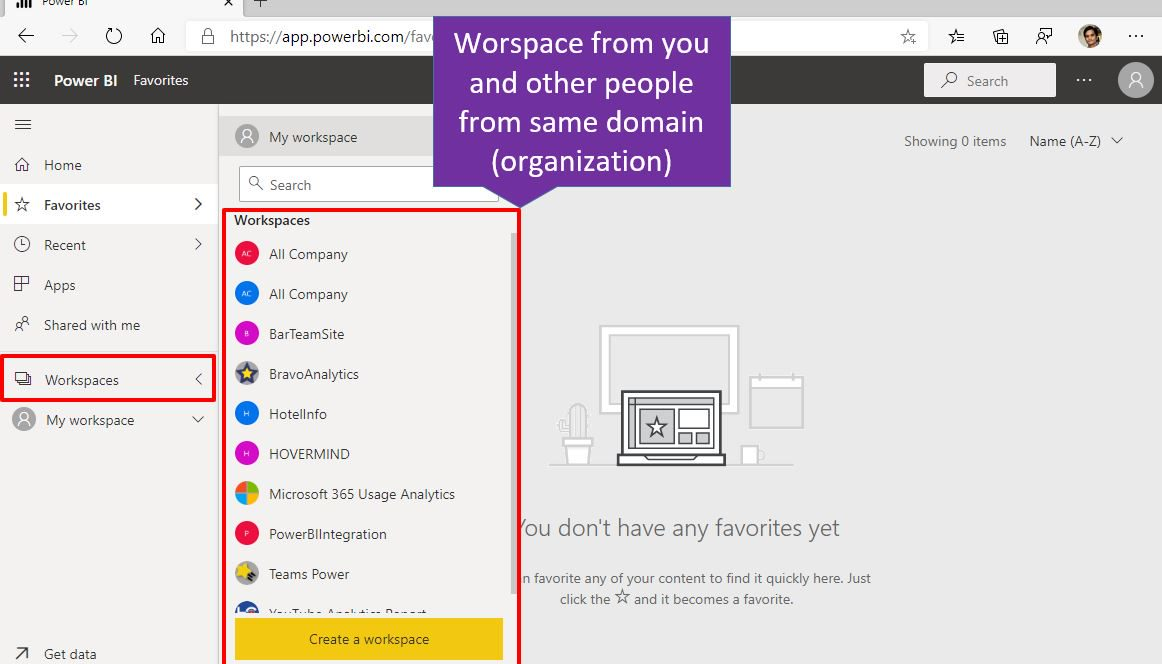 Power BI Online workspace Step 1
